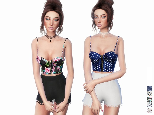 Sims 4 Zipped Bustier Top by itsleeloo at TSR