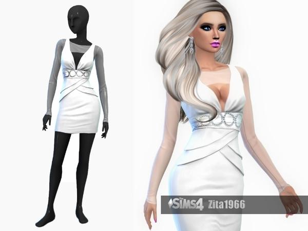 Sims 4 White dress by ZitaRossouw at TSR