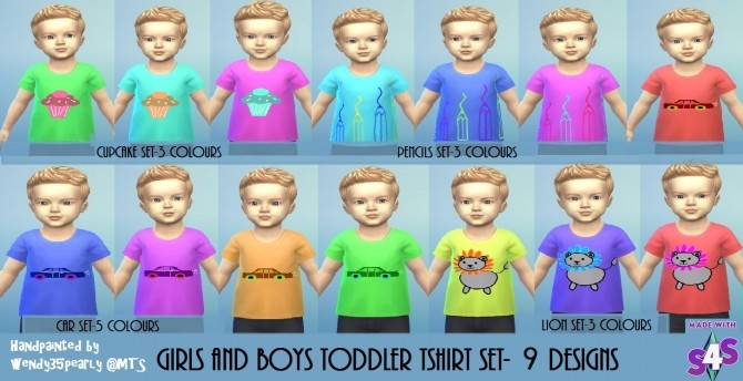 Sims 4 T Shirt set 9 Designs 40 recolours by wendy35pearly at Mod The Sims