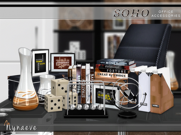 Sims 4 Soho Office Accessories by NynaeveDesign at TSR
