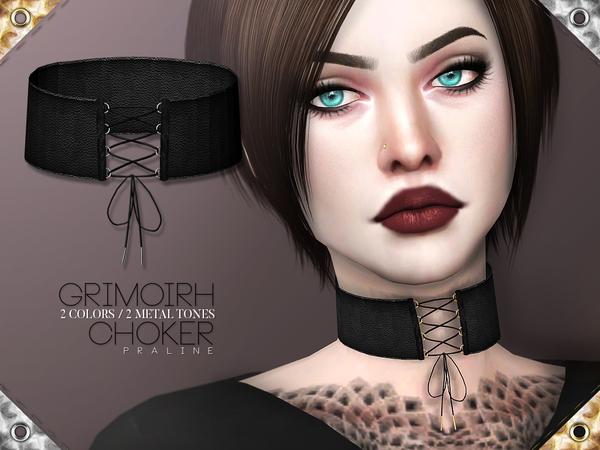 Sims 4 Grimoirh Choker by Pralinesims at TSR