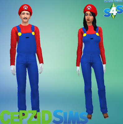 Mario Overall Outfits and Hats by cepzid at SimsWorkshop image 11215 Sims 4 Updates