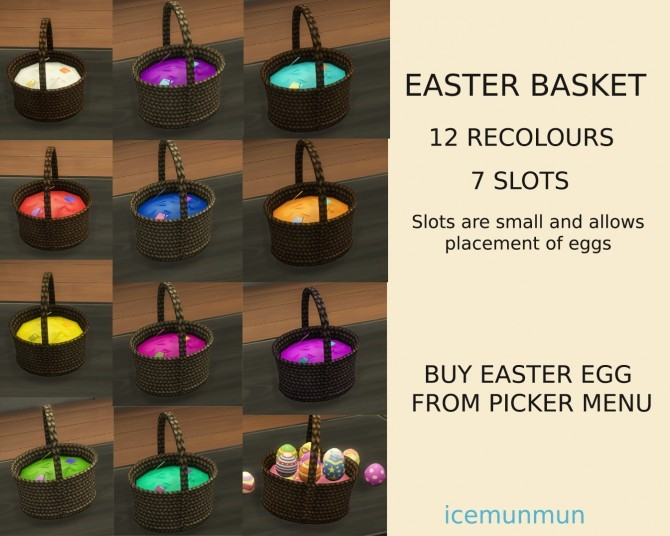 Functional Easter Basket with Edible Easter Eggs by icemunmun at Mod The Sims image 1147 670x536 Sims 4 Updates