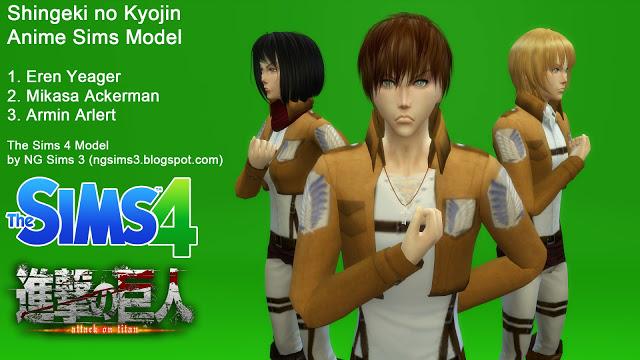 Attack on Titan Eren, Mikasa & Armin at NG Sims3 image 1189 Sims 4 Updates