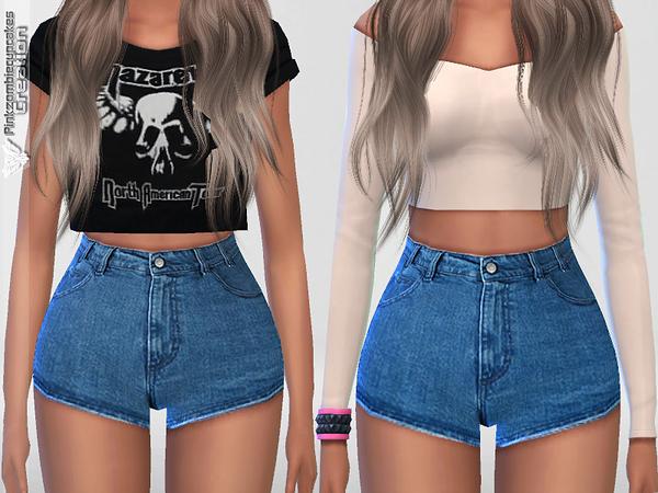 Sims 4 Summer Blue Denim Shorts by Pinkzombiecupcakes at TSR