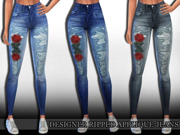 Designer Ripped Applique Jeans by Saliwa at TSR image 1312 Sims 4 Updates
