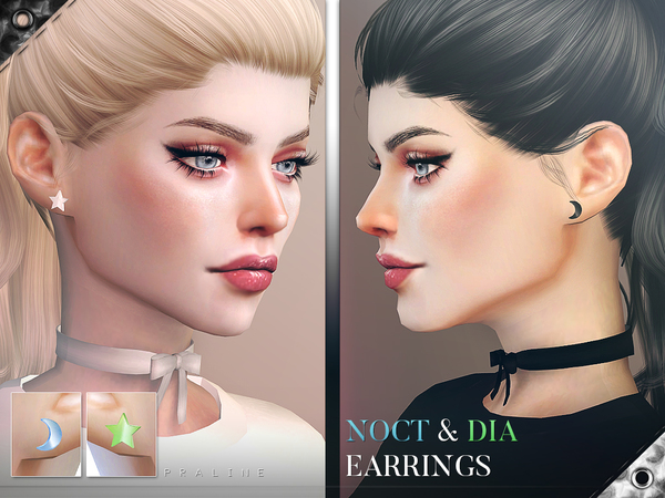 Sims 4 Noct & Dia Earrings by Pralinesims at TSR