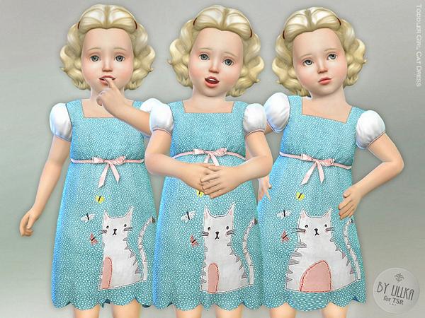 Sims 4 Toddler Girl Cat Dress by lillka at TSR