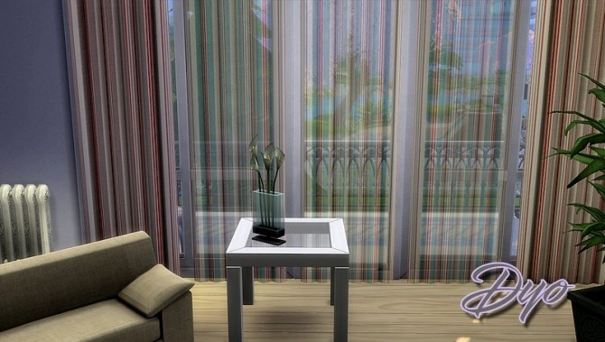 Sims 4 Striped transparent curtain by Dyokabb at Les Sims4
