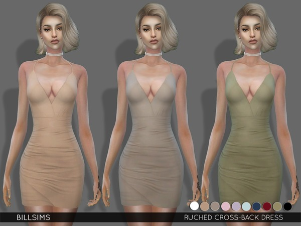 Sims 4 Ruched Cross Back Dress by Bill Sims at TSR