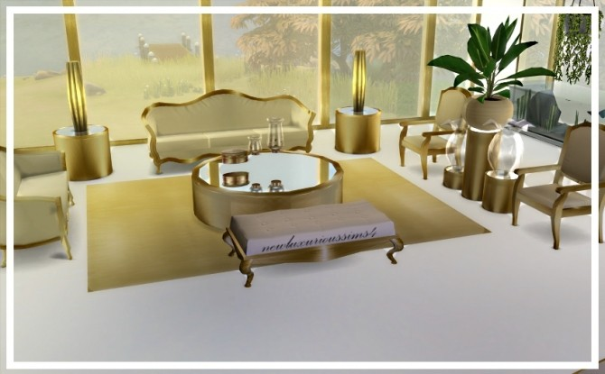 CIRCLED Mirror/glass Table Set At NEW Luxurious Sims 4