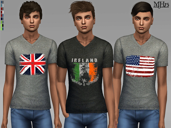 Vintage Flag Tees by Margeh 75 at TSR image 1529 Sims 4 Updates