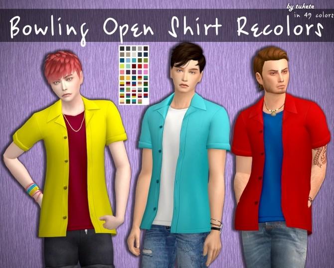 Sims 4 Bowling Open Shirt Recolors at Tukete
