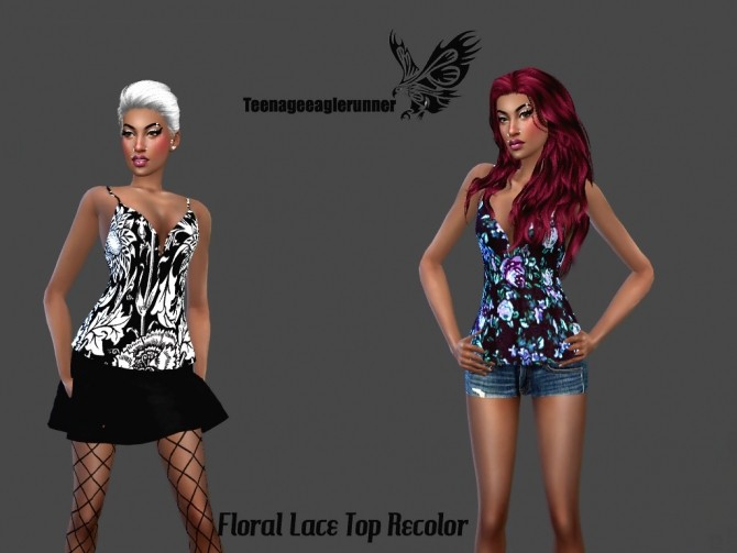 Sims 4 Floral Lace Top Recolor at Teenageeaglerunner