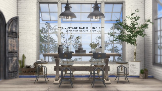 VINTAGE BAR DINING SET at Love9Souls image 1599 670x377 Sims 4 Updates