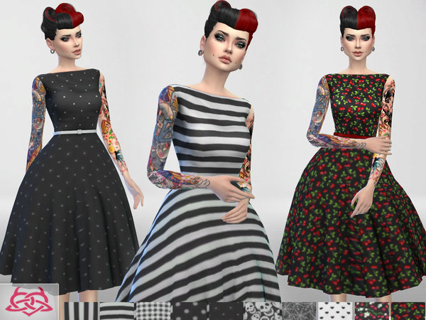 Sims 4 Eugenia dress RECOLOR 3 by Colores Urbanos at TSR