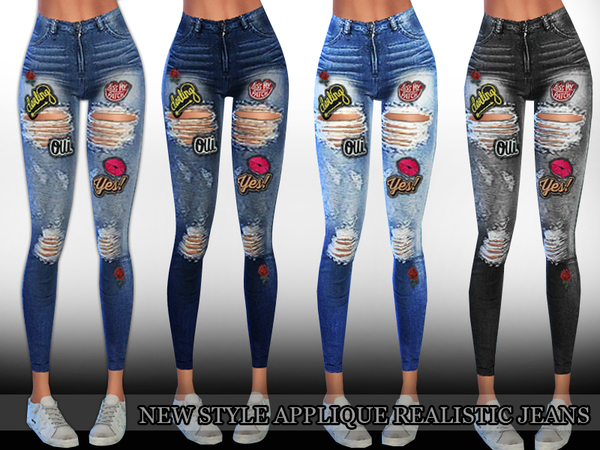 Sims 4 New Style Applique Realistic Ripped Jeans by Saliwa at TSR