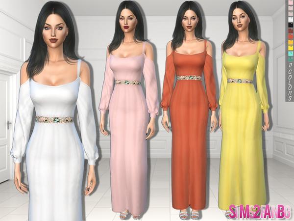 Sims 4 325 Dress With Open Sleeves and Belt by sims2fanbg at TSR