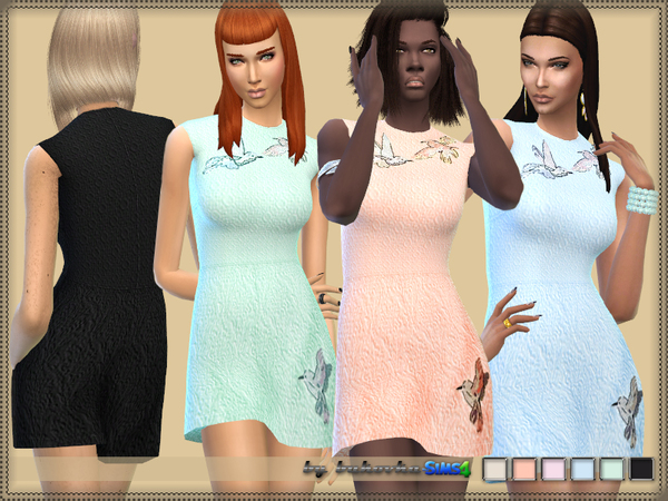Sims 4 Dress Birds by bukovka at TSR