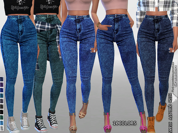 High Waisted Dark Denim Jeggings by Pinkzombiecupcakes at TSR image 1660 Sims 4 Updates