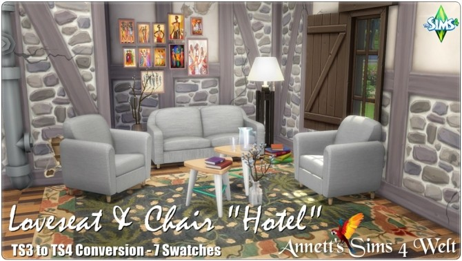 Sims 4 Loveseat & Chair Hotel TS3 to TS4 Conversion at Annett's Sims 4 Welt