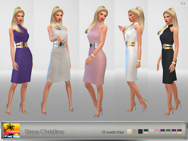Sims 4 Christine dress at Elfdor Sims