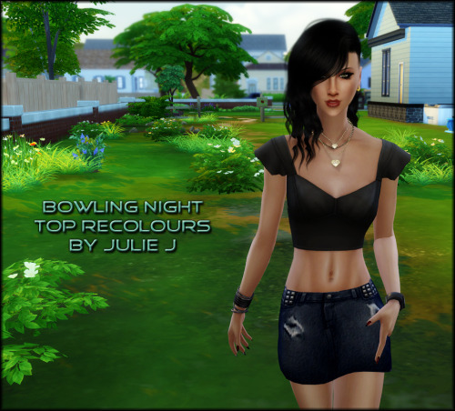 Sims 4 Female Bowling Night Top Recolours at Julietoon – Julie J