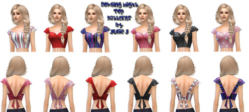 Sims 4 Female Bowling Night Top with Patterned Textures at Julietoon – Julie J