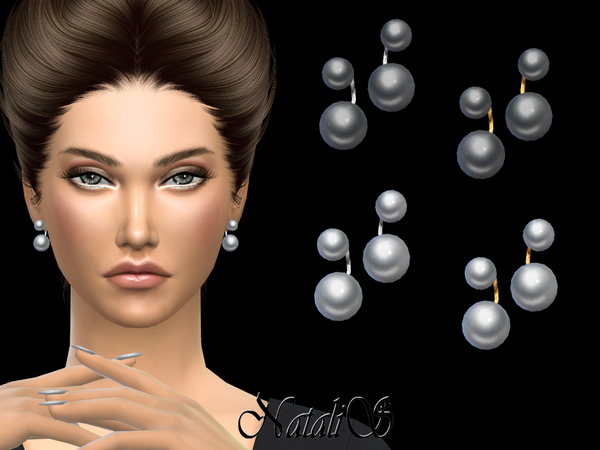 Double pearl earrings by NataliS at TSR image 1738 Sims 4 Updates