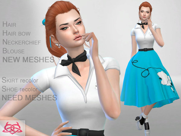 Sims 4 Poodle Set: skirt, blouse, shoes, hair, hair bow, neckerchief at TSR
