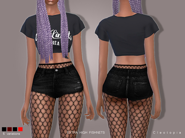 Sims 4 High Waisted Fishnet Tights Set 78 by Cleotopia at TSR