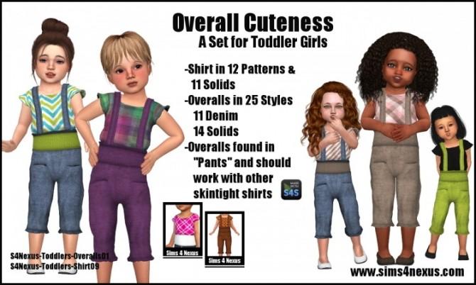 Sims 4 Overall Cuteness and shirt by Samantha Gump at Sims 4 Nexus