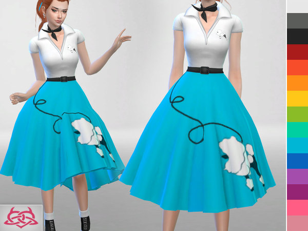 Poodle Set: skirt, blouse, shoes, hair, hair bow, neckerchief at TSR image 1912 Sims 4 Updates