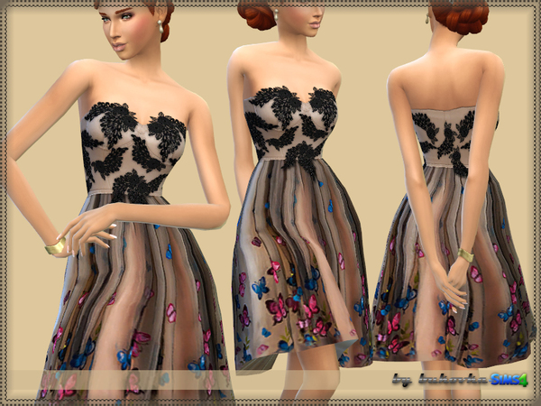 Sims 4 Butterfly Dress by bukovka at TSR