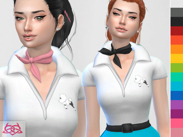Poodle Set: skirt, blouse, shoes, hair, hair bow, neckerchief at TSR image 2010 Sims 4 Updates