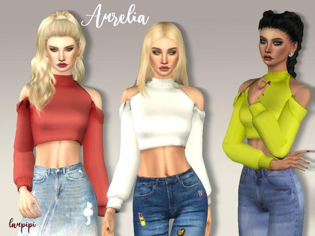Aurelia crop top at Laupipi image 2066 Sims 4 Updates