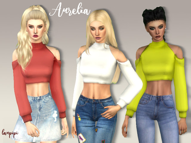 Aurelia crop top at Laupipi image 2076 Sims 4 Updates