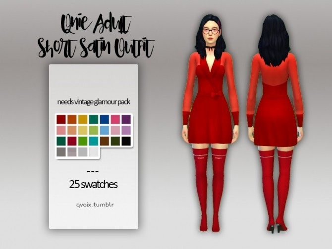 Short Satin Outfit at qvoix – escaping reality image 2086 670x503 Sims 4 Updates