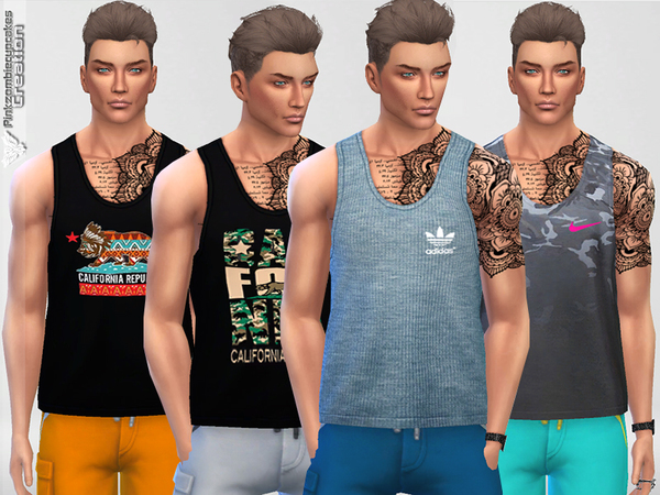 Male Tank Top Collection 01 Breeze by Pinkzombiecupcakes at TSR image 2125 Sims 4 Updates