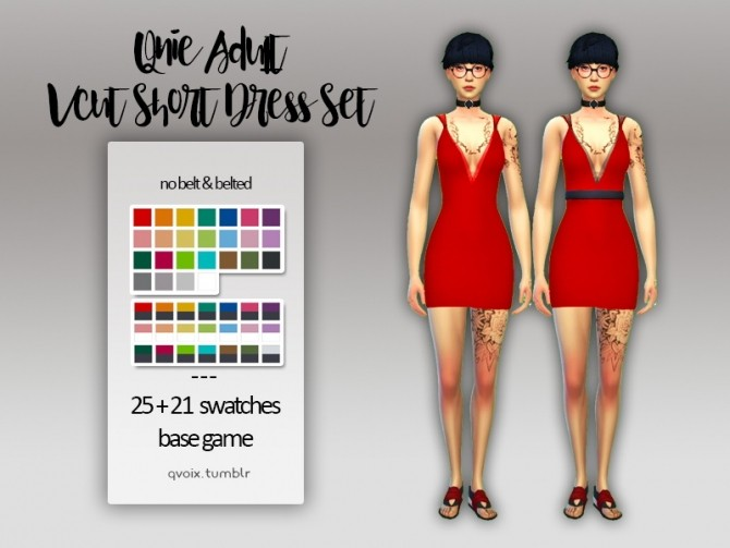 Sims 4 Qnie Vcut Short Dress Set at qvoix – escaping reality