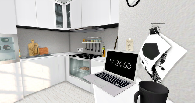 Sims 4 Kitchen with Livingroom at Liney Sims