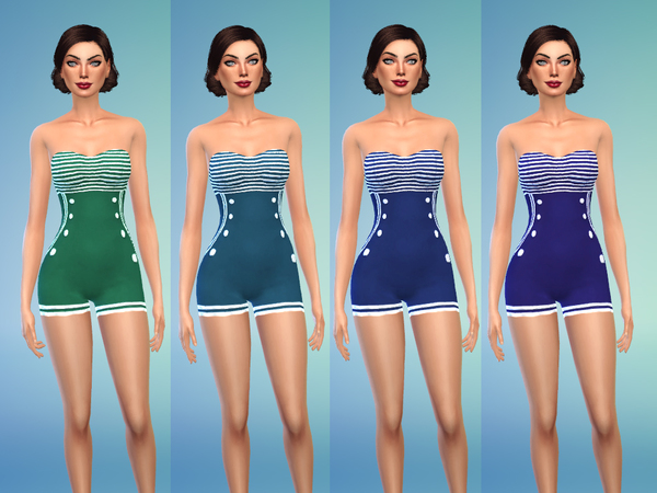 Sims 4 Rockabilly Swimsuit Part1 by Jaru Sims at TSR