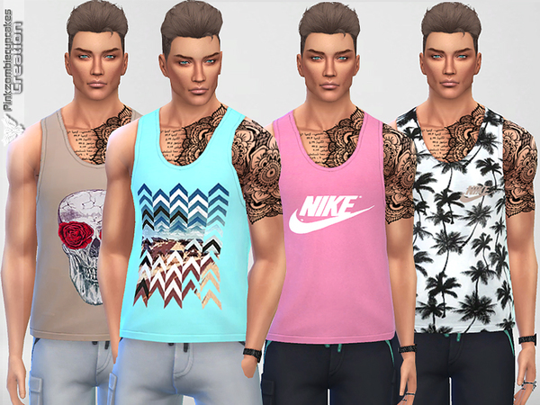 Male Tank Top Collection 01 Breeze by Pinkzombiecupcakes at TSR image 2225 Sims 4 Updates