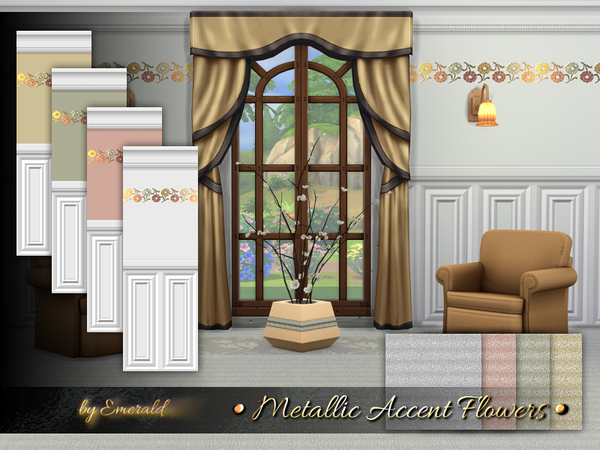 Metallic Accent Flowers by emerald at TSR image 2238 Sims 4 Updates