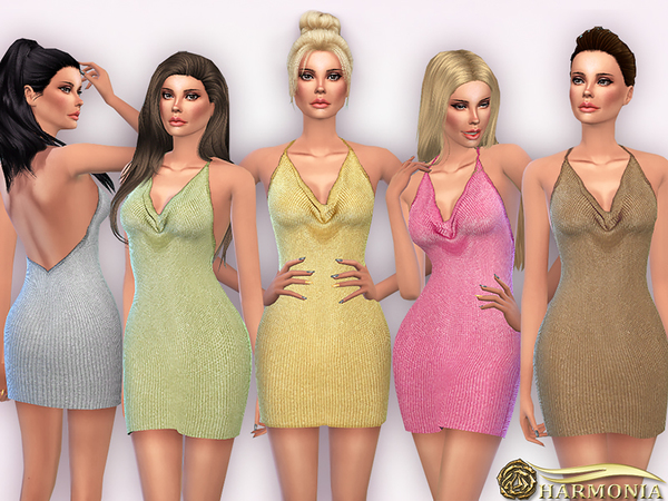 Glitzy Stretchy Metallic Sweater Dress by Harmonia at TSR image 2320 Sims 4 Updates