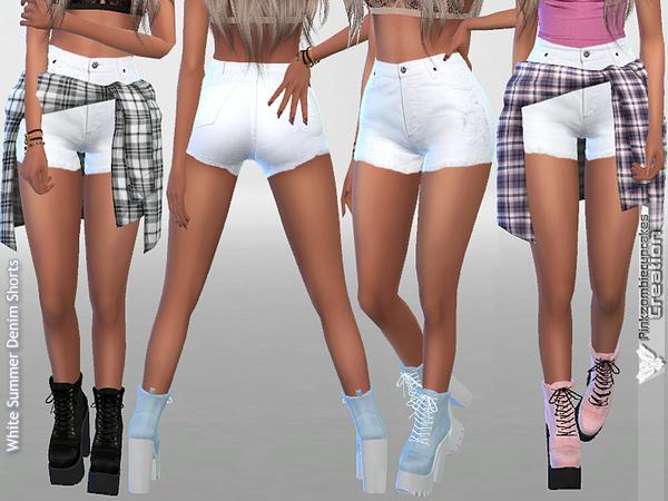 White Summer Denim Shorts By Pinkzombiecupcakes At Tsr