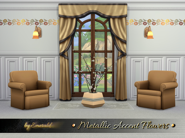 Sims 4 Metallic Accent Flowers by emerald at TSR
