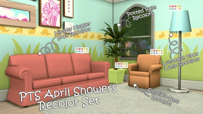Sims 4 April Showers Recolor Set at The Plumbob Tea Society