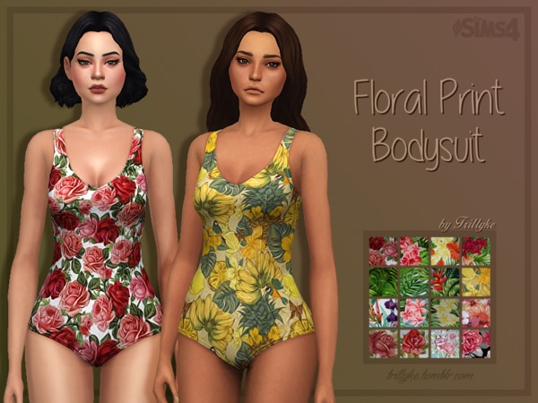 Sims 4 Floral Print Bodysuit by Trillyke at TSR