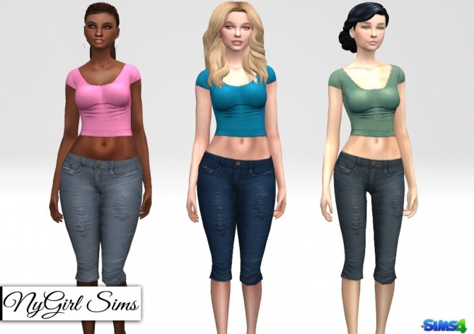 Distressed Denim Capri at NyGirl Sims image 2731 670x473 Sims 4 Updates